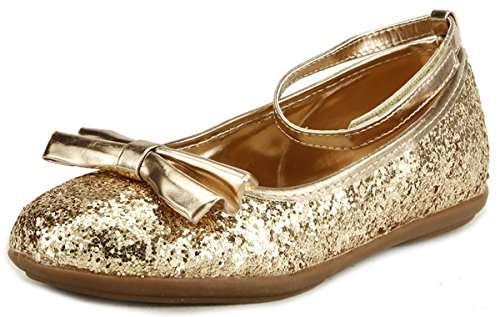 The Doll Maker Metallic Glitter Strap Flat Shoes - FBA1511115A-7 (Gold Shoes Toddler)
