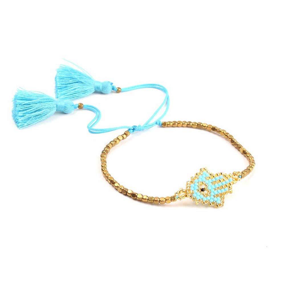 Eye Bracelet For Women Glass Beads Miyuki Seed Beads Bangles Amulet Jewelry Friendship Gift DIY Charms (light blue)