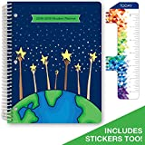 Dated Elementary Student Planner for Academic Year 2018-2019 (Matrix Style - 8.5''x11'' - (Reach for The Stars Cover) - Bonus Ruler/Bookmark and Planning Stickers