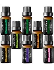 URbeauty Essential Oils Top 8 Aromatherapy Essential Oils 100% Pure Therapeutic Grade Essential Oils Set Lavender/Peppermint/Tea Tree/Orange/Eucalyptus/Lemongrass/Frankincense/Rosemary