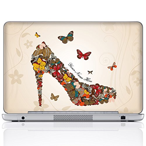 Meffort Inc Personalized Laptop Notebook Notebook Skin Sticker Cover Art Decal, Customize Your Name (14 Inch, Butterfly High Heel)