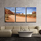wall26 - 3 Piece Canvas Wall Art - Scenic and Empty Dirt Road in Monument Valley - Modern Home Decor Stretched and Framed Ready to Hang - 24''x36''x3 Panels