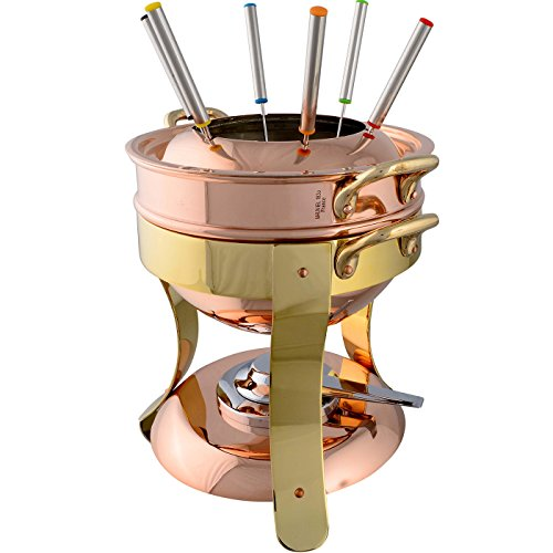 (Mauviel Made In France M'Tradition 2719.01 Tinned Copper Fondue Pot)