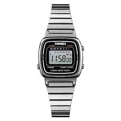 Leo565Tom Reloj Digital de Mujer Retro Moda Multi-función de Cuenta Regresiva señoras Reloj Impermeable