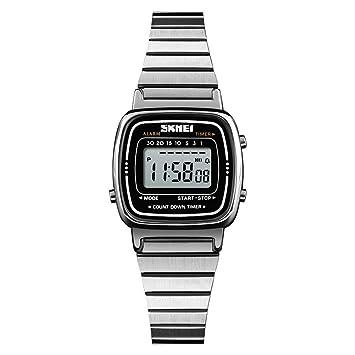 Leo565Tom Reloj Digital de Mujer Retro Moda Multi-función de Cuenta Regresiva señoras Reloj Impermeable con Pantalla analógica y Pulsera de Acero ...