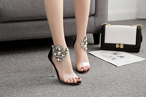 Glitter 40 Women's Crystal Size Club Summer Color Shoes Heel Heels Fall Shoes Stiletto Black up Platform Heel Sparkling Shoes PVC Translucent Heel Light EBqwBr