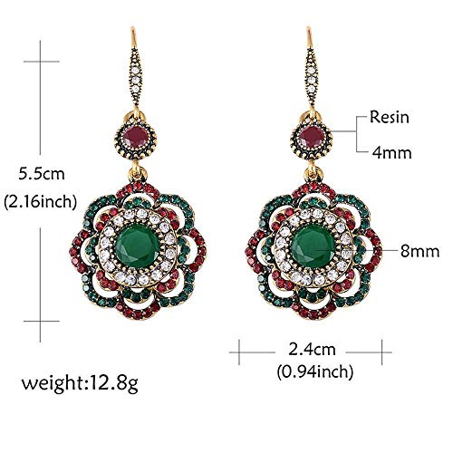 (Wedding Ethnic Vintage Party Drop Earrings Crystal Long Clip)