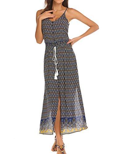(Women's Bohemian Backless Spaghetti Strap Maxi Beach Dress Blue L)
