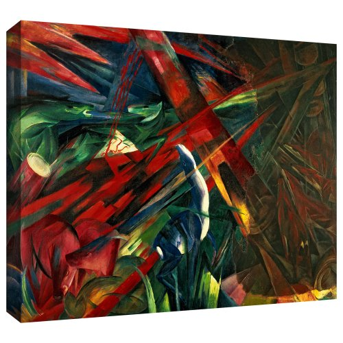ArtWall Franz Marc 'Fate of The Animals' Gallery Wrapped Canvas Artwork, 24 by 32-Inch Franz Marc Deer