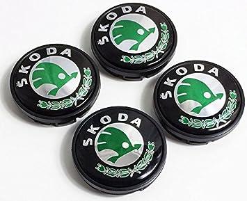 Oem Systems - Juego de 4 tapacubos para llantas con logotipo Skoda - Color verde/cromado - 56 mm de diámetro - Tapones para llantas de aleación: Amazon.es: ...