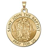 Saint John the Baptist Religious Medal 10K And14K Yellow or White Gold, or Sterling Silver