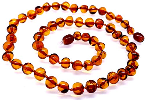 AMBERMILANA Baltic Amber Necklace Women/Cognac Baroque Beads/Healing Amber Necklace/Certified Genuine Baltic Amber