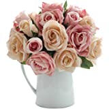 Artificial Flowers, Fake Flowers Silk Artificial Roses 9 Heads Bridal Wedding Bouquet for Home Garden Party Wedding Decoration (Pink Champagne)