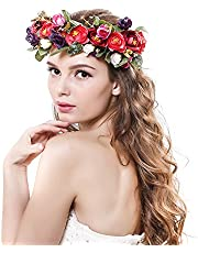 Ever Fairy Women Handmade Rose Flower Wreath Crown Wedding Festivals Garland Crown