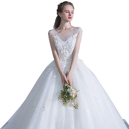 Vestido de novia Cola Grande, Vestido de Noche de Boda Delicado Cuello Redondo soñador Ailin