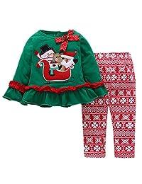 SUPEYA Baby Girls Boys Christmas Santa Claus Print Ruffled Tops Floral Pants Outfits