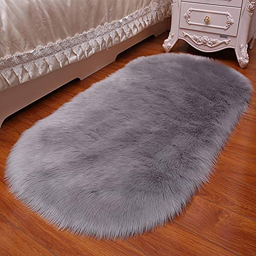 Luxury Premium Oval-Shaped Elliptic Faux Fur Fluffy Sheepskin Shaggy Home Bedroom Carpet Area Rug, 5x7ft,Grey