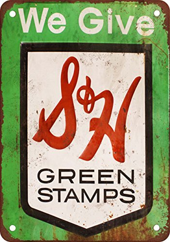 S&H Green Stamps Vintage Look Reproduction Metal Tin Sign 12X18 Inches (Green Tin Sign)