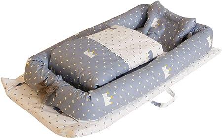 Miyanuby Cama Nido de Bebé Recién Nacido   Reductor Protector de Cuna Cama de Viaje   Cuna Portatil   Bebé Desmontable Cocoon Pod Dormir   Cuna de Bebe + Edredon + Almohada - 3PCS   Regalo Bebe