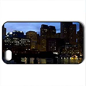 Along the Harbor - Case Cover for iPhone 4 and 4s (Watercolor style, Black) by icecream design