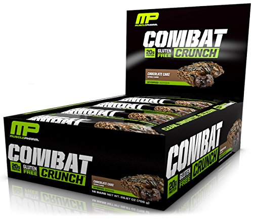 MusclePharm Combat Crunch Protein Bar, Multi-Layered Baked Bar, 20g Protein, Low Sugar, Low Carb, Gluten Free, Chocolate Cake, 12 Bars (Bar Chocolate Sugar)