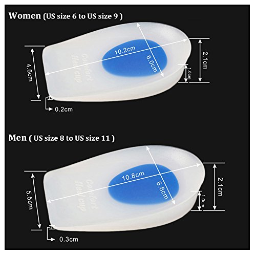 Heel Cups Silicone Gel Cushions Foot Insert Pad Bone Spurs Pain Relief Protectors of Your Sore or Bruised Feet 2 Pairs by Vbest (Image #3)