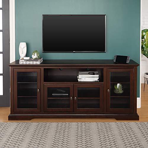 Walker Edison Traditional Wood and Glass Stand with Cabinet Doors for TV s up to 80 Living Room Storage Shelves Entertainment Center, 70 Inch, Espresso Brown