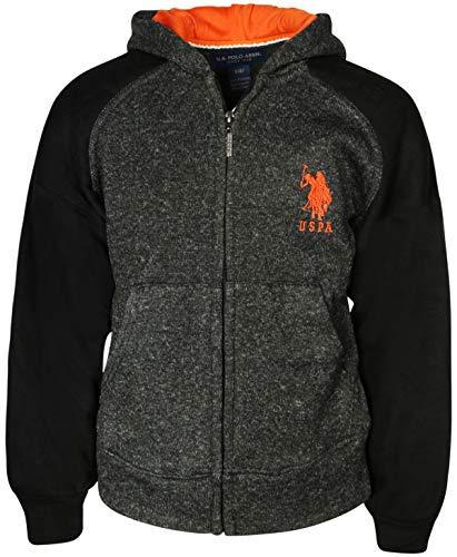 U.S. Polo Assn. Boys Fleece Zip Up Hoodie (Black, 14/16)