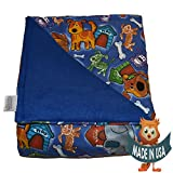 Young Adult Medium Weighted Blanket By Sensory Goods 11lb Medium Pressure - Fido Pattern with Blue - Fleece/Flannel (41'' x 58'')