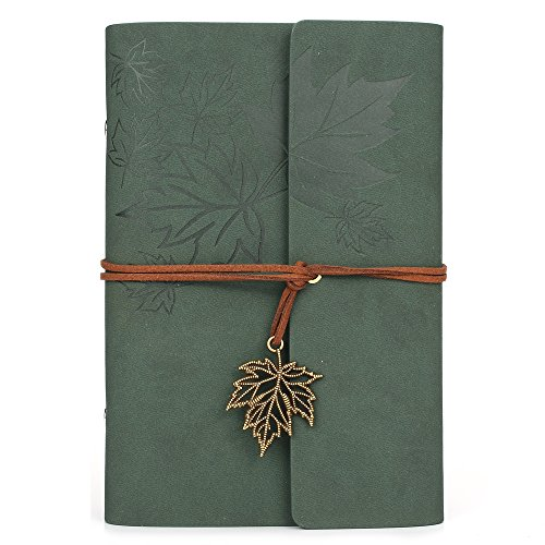 Leather Writing Journal Notebook, MALEDEN Classic Spiral Bound Notebook Refillable Diary Sketchbook Gifts with Unlined Travel Journals to Write in for Girls and Boys - Leather Photo Journal