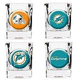 NFL Miami Dolphins Four Piece Square Shot Glass Set (Individual Logos)