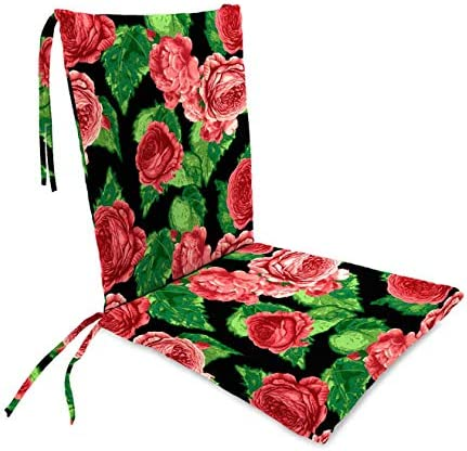 Plow Hearth Classic Polyester Outdoor Rocking Chair Cushion with Ties, Seat Cushion 21 W Front 17 W Back x 19 D Back Cushion 16 W x 20 L – Cabbage Rose