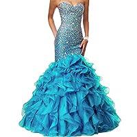 Lemai Crystals Long Mermaid Ruffles Beaded Sweetheart Corset Formal Prom Evening Dresses