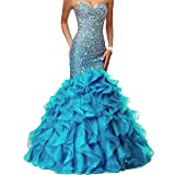 Product review for Lemai Crystals Long Mermaid Ruffles Beaded Sweetheart Corset Formal Prom Evening Dresses