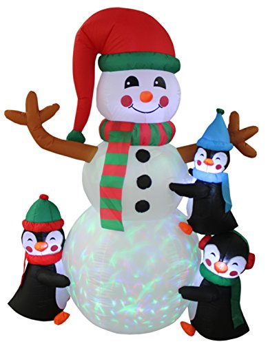 6 Foot Tall Lighted Christmas Inflatable Three Cute Penguins Building Snowman Color LEDs Yard Decoration by BZB Goods (Image #1)