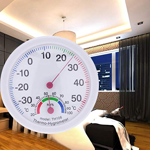 NszzJixo9 Indoor Outdoor Thermometer Temperature Meter Hygrometer Humidity Clock-Shaped Home School Office Guesthouse Factory Home Improvement