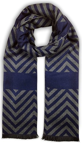Bleu Nero Luxurious Winter Scarf for Men and Women – Large Selection of Unique Design Scarves – Super Soft Premium Cashmere Feel (Grey/Navy Chevron + Thick Stripes) (Mens Dress Scarf)