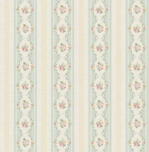 Floral Cameo Stripe Wallpaper in Neutral Blue FG71102 from Wallquest