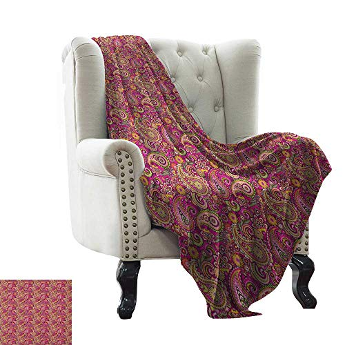 BelleAckerman Children's Blanket Hippie,Asian Bohemian Middle Eastern Flourish Violet Blossom Lotus Spiritual Persian Folk, Multicolor All Season Light Weight Living Room/Bedroom - Light Lotus Persian