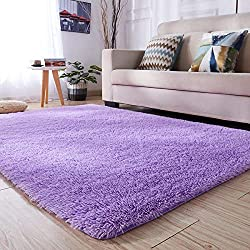 PAGISOFE Super Soft Purple Area Rugs for Kids Room Girls Bedroom Fluffy Shag Fur Rug for Living Room Nursery Rugs Thick Cute Plush Rug Decorative Floor Carpet 4' x 5.3',Purple