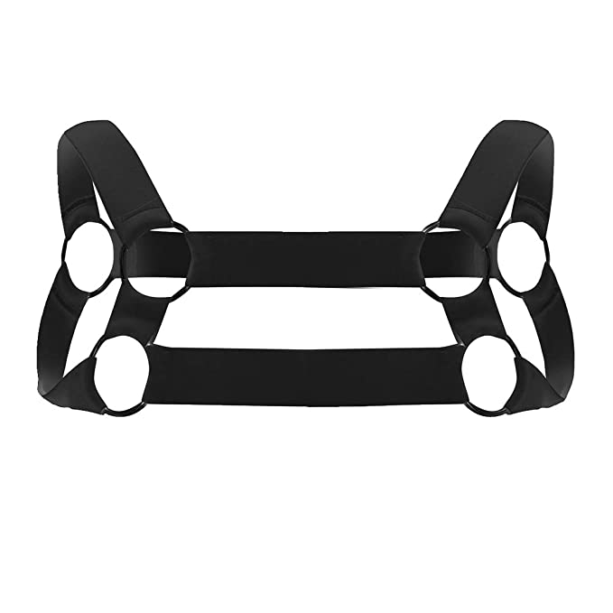 Mens Muscle Strong Nylon Elastic Shoulder Body Chest Harness Costume Belt O Ring