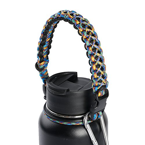 qeelinkハンドルfor Hydro Flask – セキュリティ設計 – Wide Mouth水ボトルキャリア – Includes Paracord Survival Strap withコンパスFire Starterホイッスル B0774DF2HH A Camo A Camo
