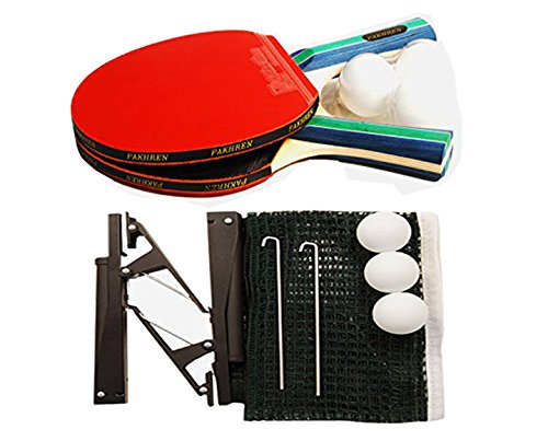 PAKHREN | Portable All-in-ONE Ping Pong Paddle Set With 2 Player ITTF Approved Table Tennis Rackets, 3 Ping Pong Balls, a Table Tennis Net & Posts and Carry Case to Go Anywhere with You