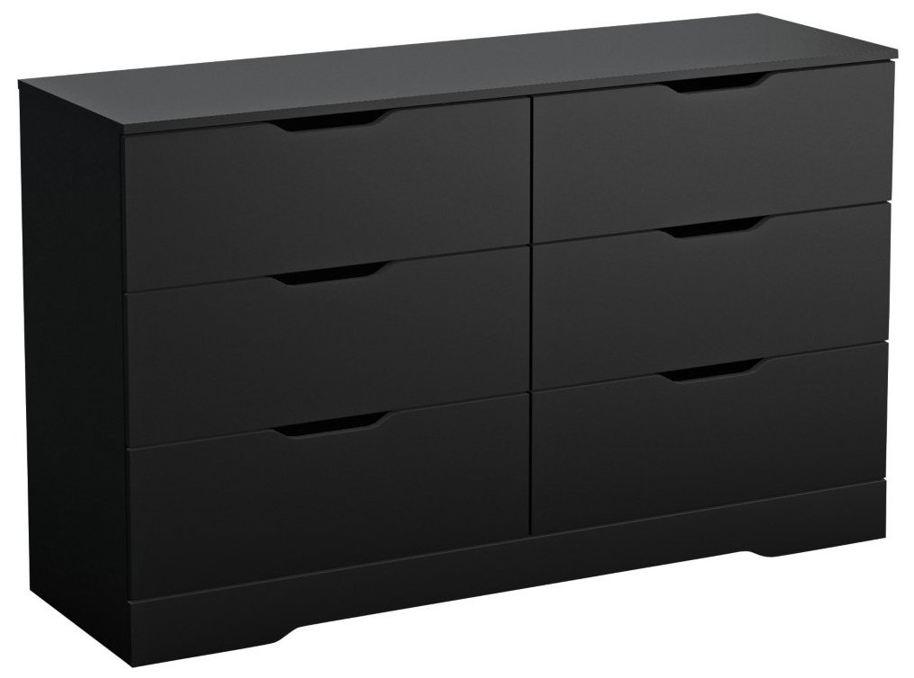 South Shore Trinity Collection 6-Drawer Double Dresser, Pure Black with Cutout Handles