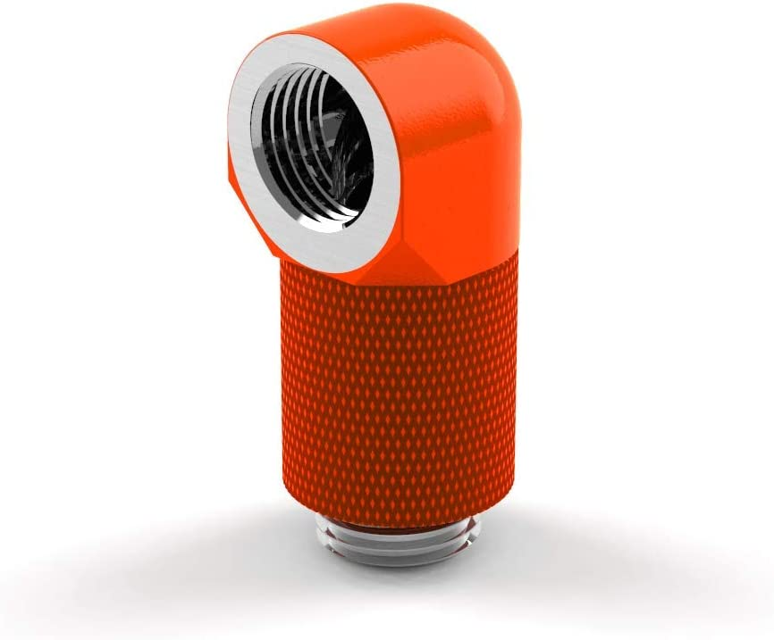 UV Orange PrimoChill Male to Female G1//4 90 Degree Rotary 20mm Extension Elbow Fitting