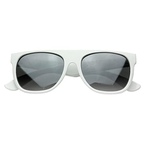 24738cc7a038 Image Unavailable. Image not available for. Color: Modern Retro Reflective  Mirror Lens Super Flat Top Horn Rimmed Sunglasses ...