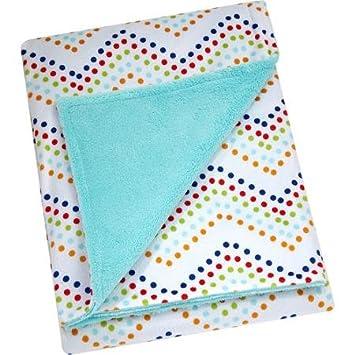 Baby Quilt with Aqua Polka Dots and Pinwheels   FREE SHIPPING