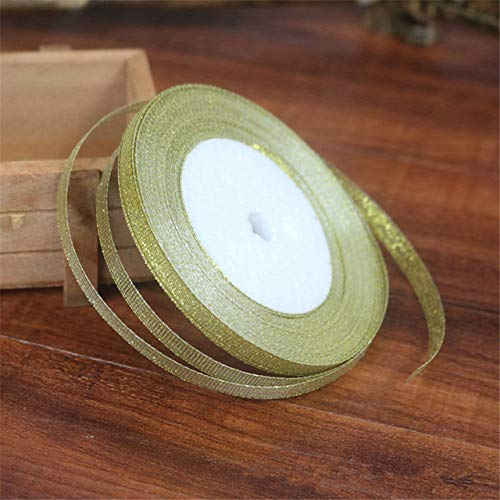 Zereff Zrf 25Yards Long Silk Satin Ribbon Party Wedding Decoration Gift Wrapping Christmas Material 6Mmcar Decoration Car Ornaments - (Color Name: Gold)