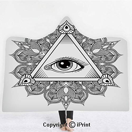 "Eye 3D Print Soft Hooded Blanket Boys Girls Premium Throw Blanket,Vintage All Seeing Eye Tattoo Symbol with Boho Mandala Providence Spirit Occultism,Lightweight Microfiber(Kids 50""x60"") Black White"