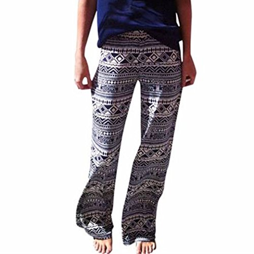 HN Bohemia Ethnic Wind Printed Trousers Straight Women Beach Pants ()